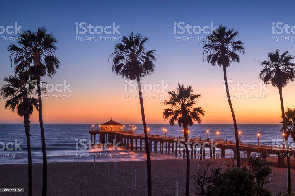 Manhattan Beach Pier at sunset, Los Angeles, California stock photo