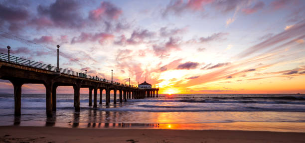 Manhattan Beach Pier in California - Los Angeles stock photo