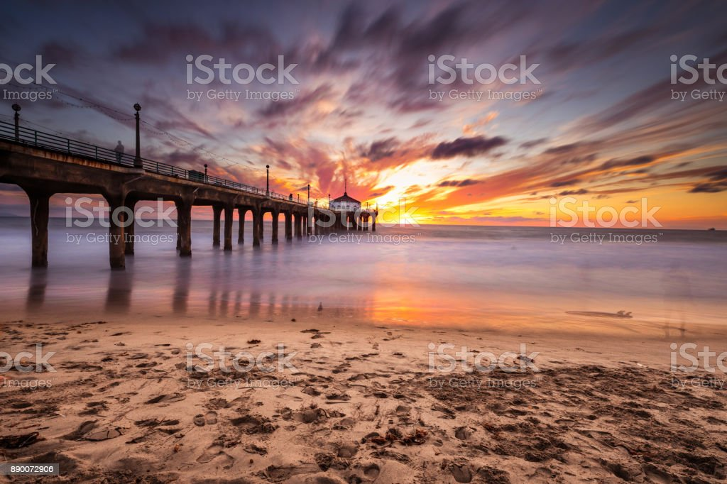 Manhattan Beach Pier in California - Los Angeles stock photo