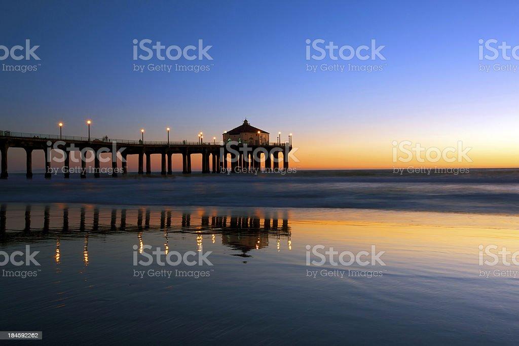 Manhattan Beach Pier in nighfall royalty-free stock photo