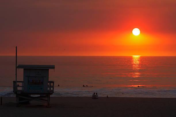 Manhattan Beach Sunset stock photo