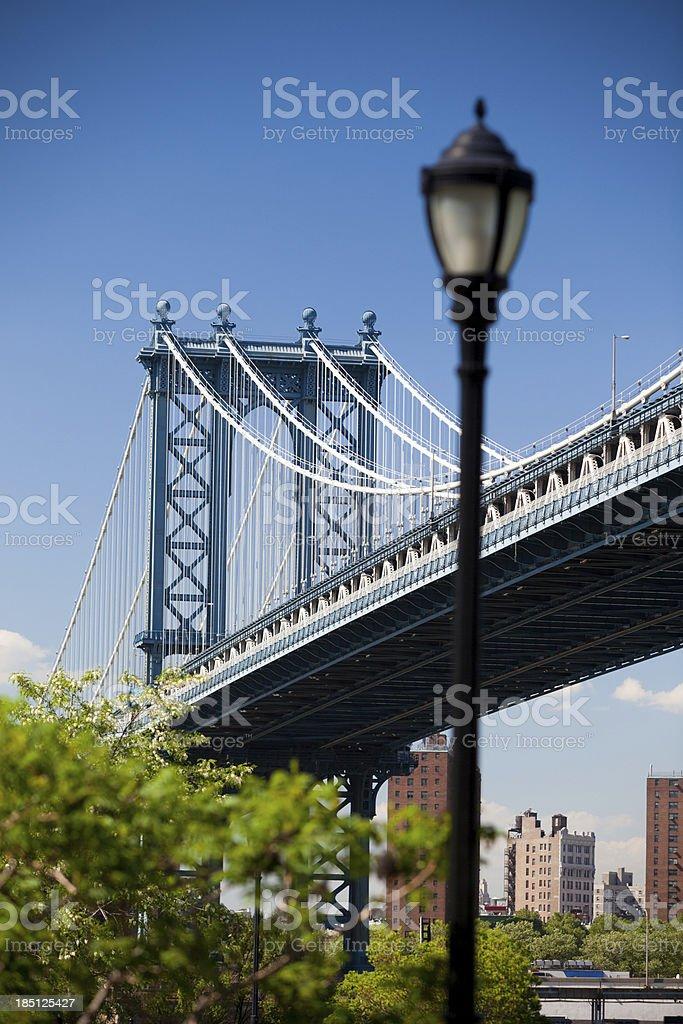 Manhattan bridge and lamplight stock photo