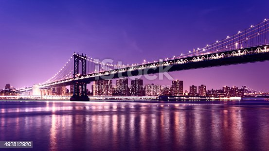 Manhattan Bridge at night. Williamsburg bridge and Manhattan cityscape in background