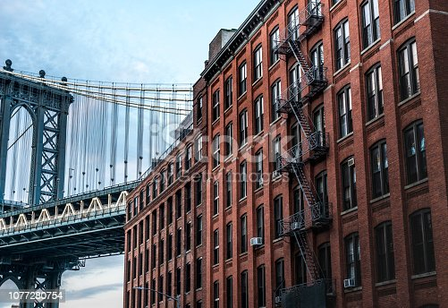 624265498 istock photo Manhattan Bridge and red brick buildings, NYC  New York 1077280754