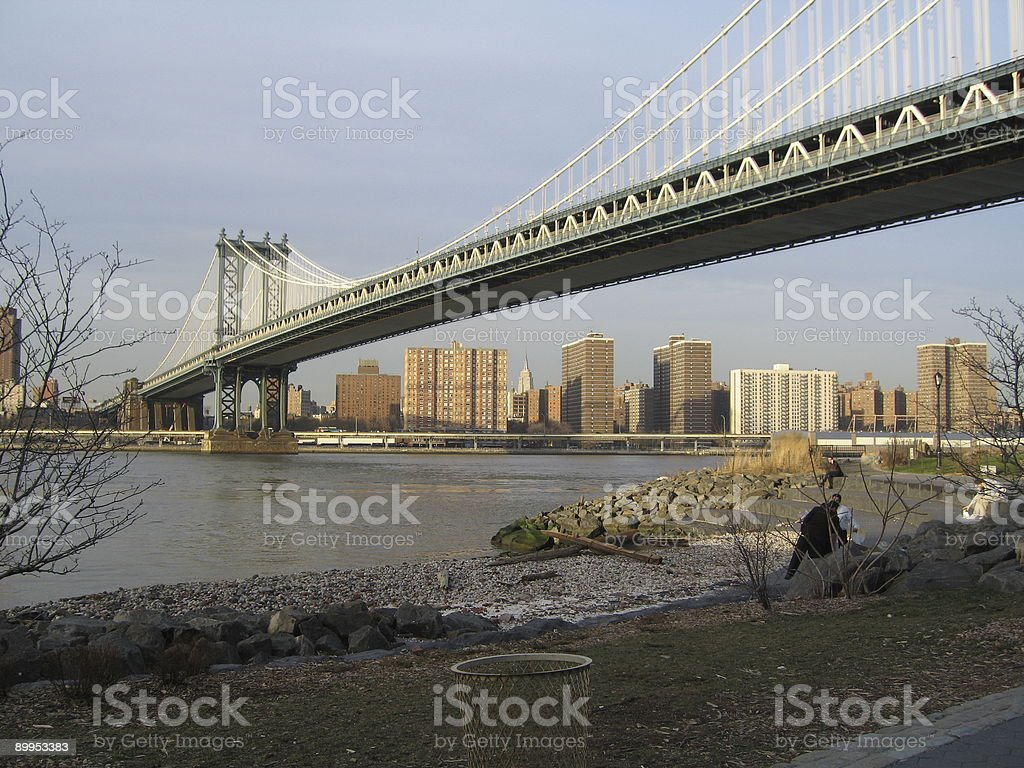 manhattan bridge as seen from brooklyn royalty-free stock photo