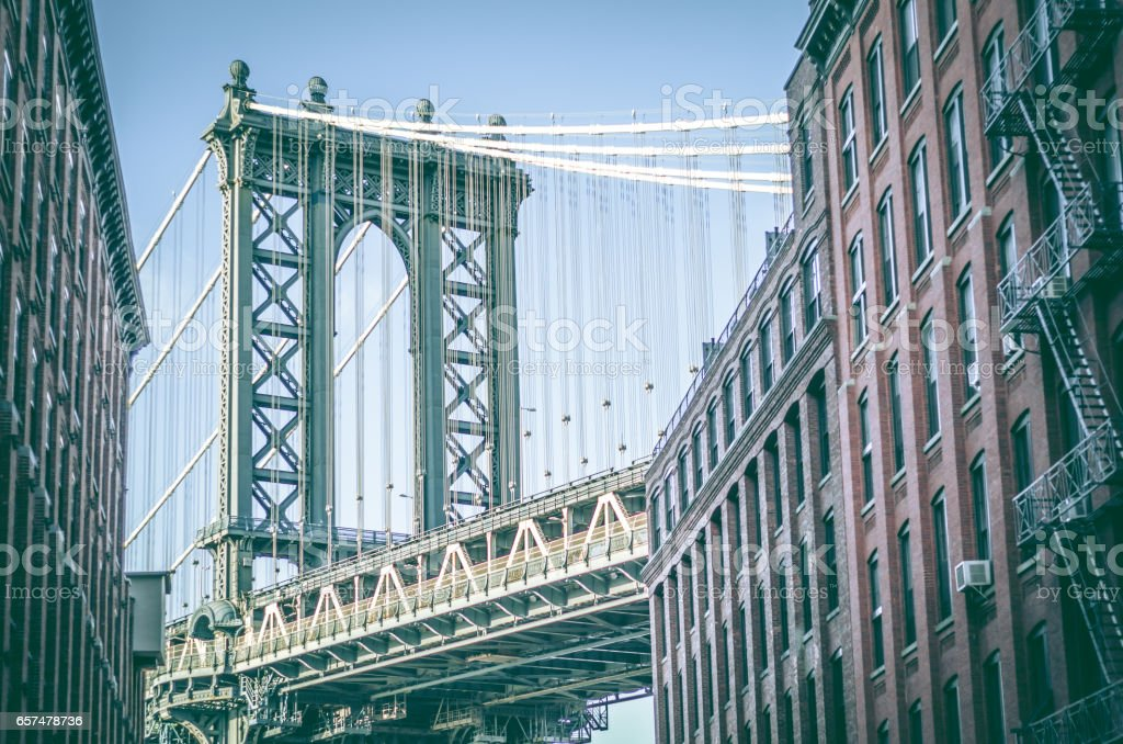 Manhattan Bridge as seen from Washington Street DUMBO Brooklyn New York City stock photo