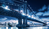 Manhattan bridge at night in New york city