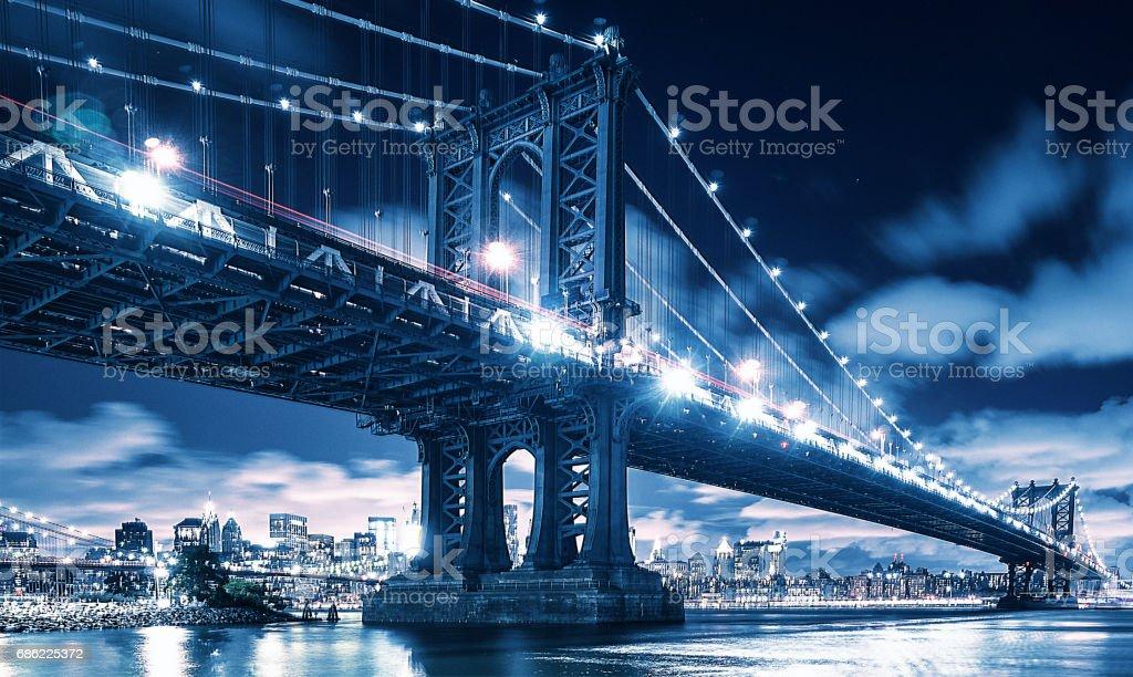 Manhattan bridge at night in New york city stock photo