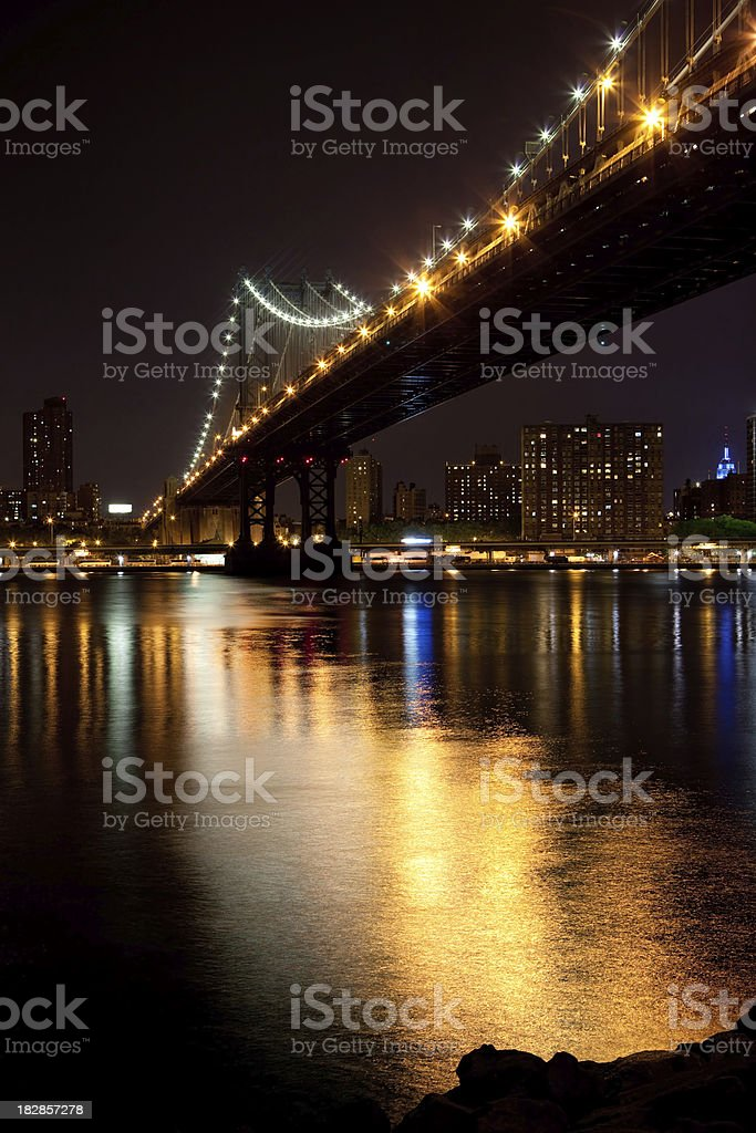 Manhattan bridge at night royalty-free stock photo