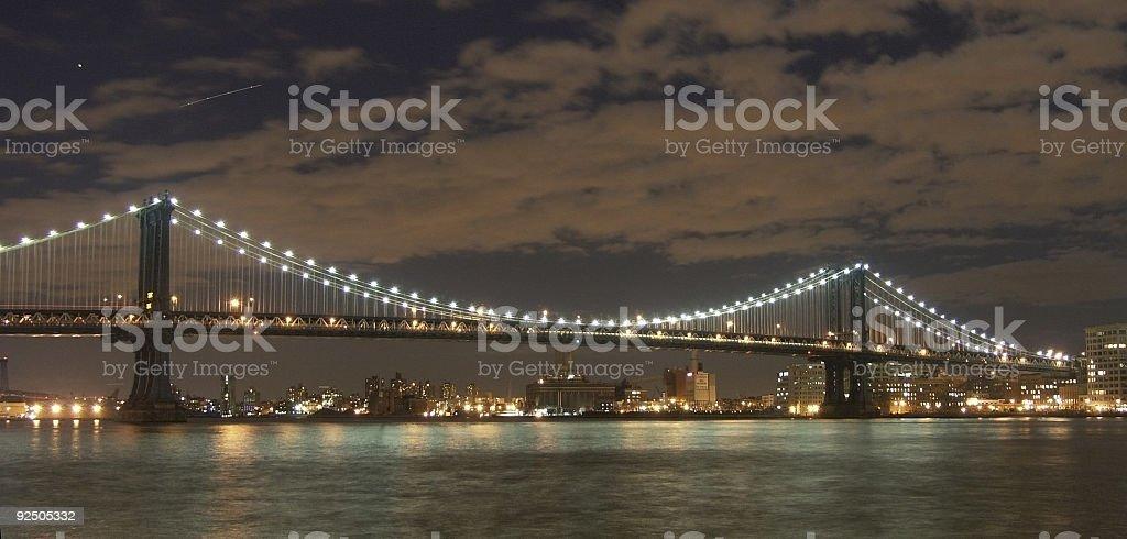 Manhattan Bridge At Night royalty-free stock photo