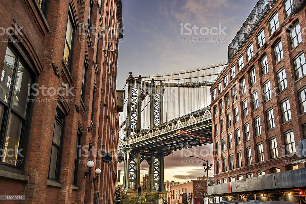 Manhattan Bridge at Sunset stock photo