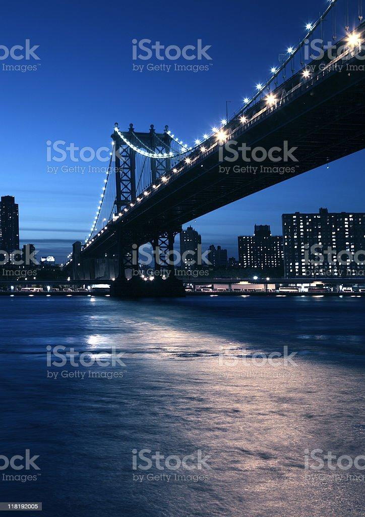 manhattan bridge at the blue hour stock photo