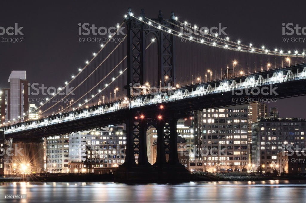 Manhattan Bridge, Close Up at Night stock photo