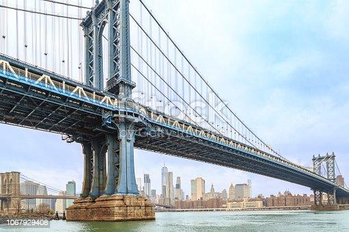 Manhattan bridge close with lower Manhattan from Brooklyn side in New York, NY, USA