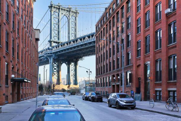 Manhattan bridge + DUMBO - New York City stock photo