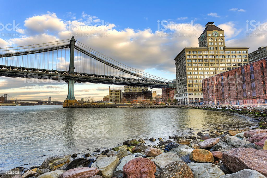 Manhattan bridge during sunset stock photo
