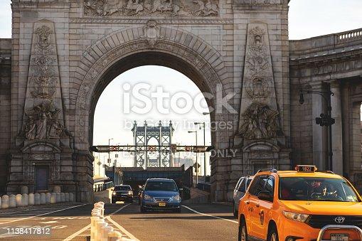 New York, United States - February 5, 2019 Manhattan Bridge Entrance in New York City