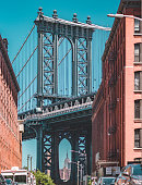 Manhattan bridge and Empire State Building seen from a narrow alley enclosed by two brick buildings