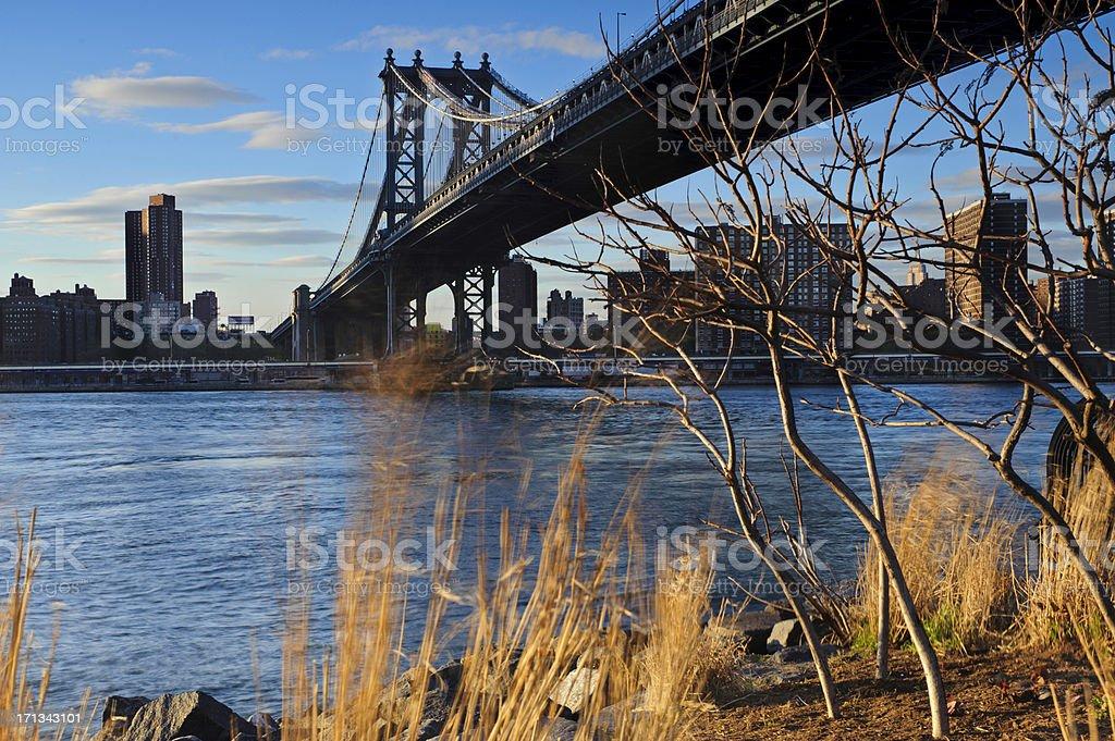 Manhattan Bridge from Brooklyn during sunset in spring stock photo