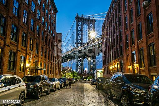 View of the Manhattan bridge from Dumbo, Brooklyn, New York City, USA