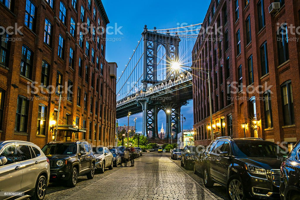 Manhattan bridge from Brooklyn, New York stock photo