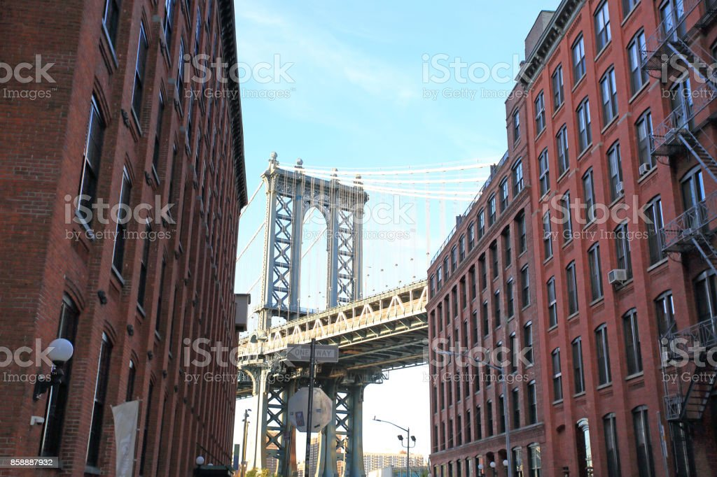 Manhattan bridge from Washington street, Brooklyn, New York, USA stock photo