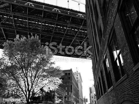 Manhattan Bridge from Brooklyn in New York City, USA