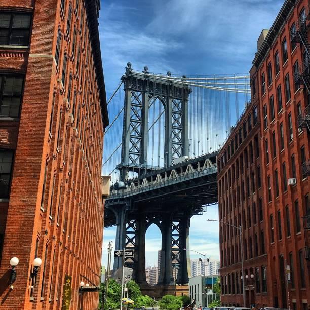 Manhattan Bridge in the sunshine. stock photo