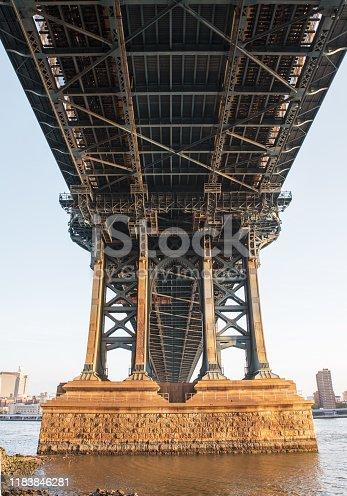 Manhattan bridge at dawn,  legs seen from underneath