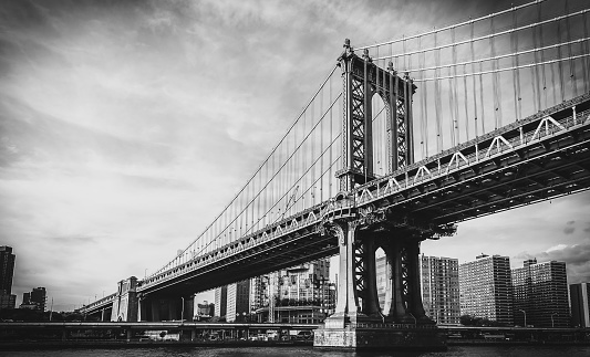 Black and White Retro Styled Image of Manhattan Bridge in New York City