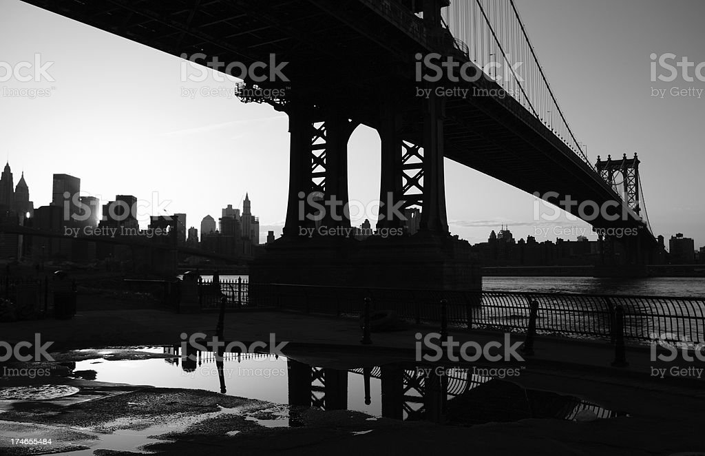 Manhattan Bridge New York City Silhouette Monochrome royalty-free stock photo