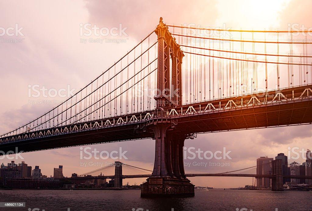 Manhattan Bridge New York City Skyline stock photo