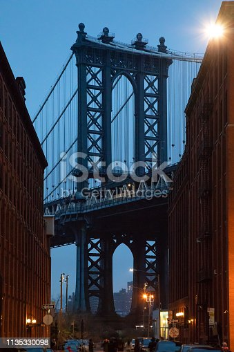 624265498 istock photo Manhattan Bridge, NYC - Dumbo Famous View 1135330098