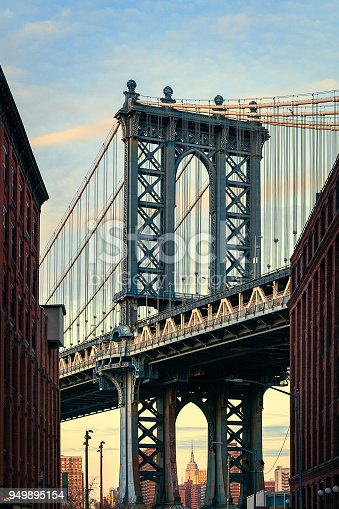 624265498 istock photo Manhattan Bridge, NYC - Dumbo Famous View 949895154