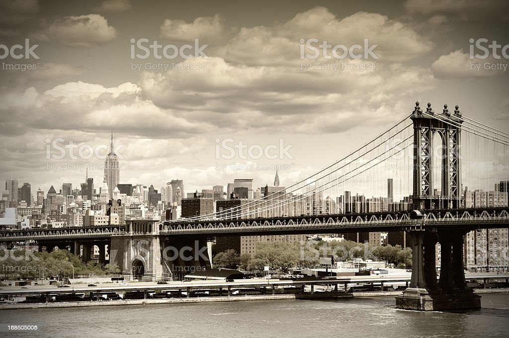 Manhattan Bridge, NYC. Vintage Style stock photo