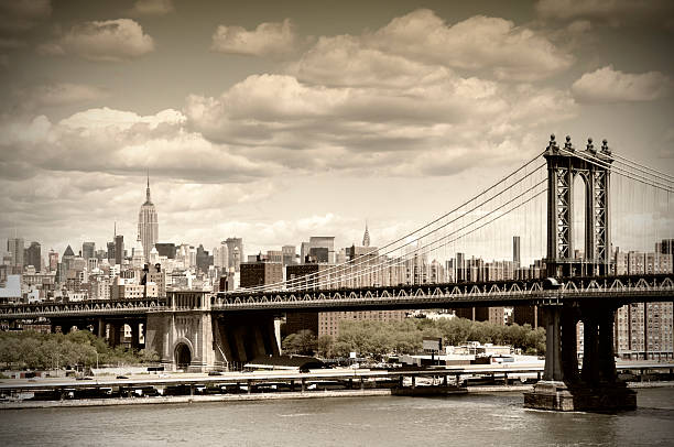 manhattan bridge, nyc. vintage style - 1920s style stock photos and pictures