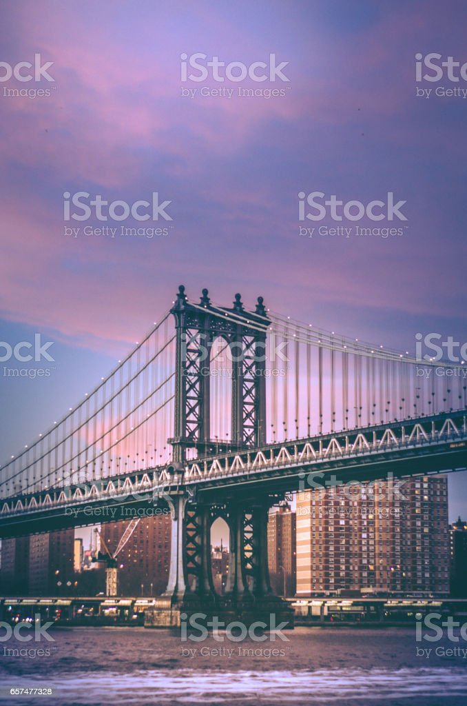 Manhattan Bridge of New York City at Sunset stock photo