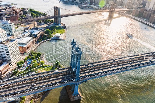 Aerial view of the Manhattan Bridge over the East River in New York City