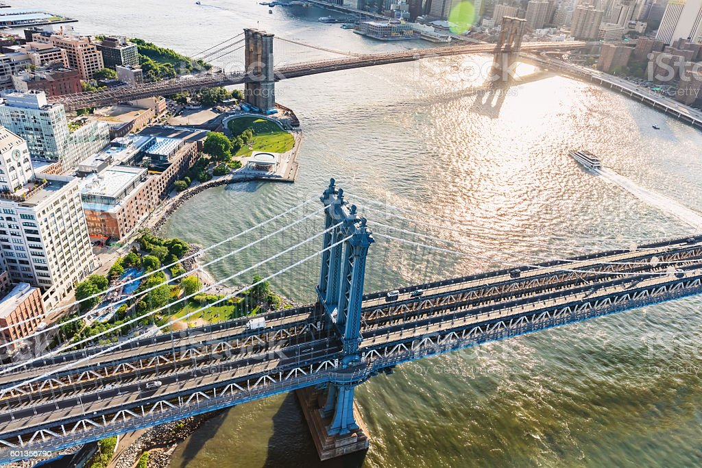 Manhattan Bridge over the East River in New York stock photo
