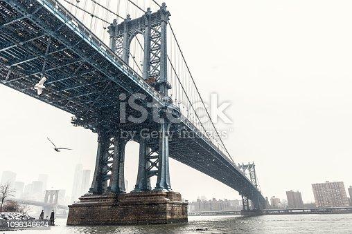 Manhattan Bridge in winter, New York