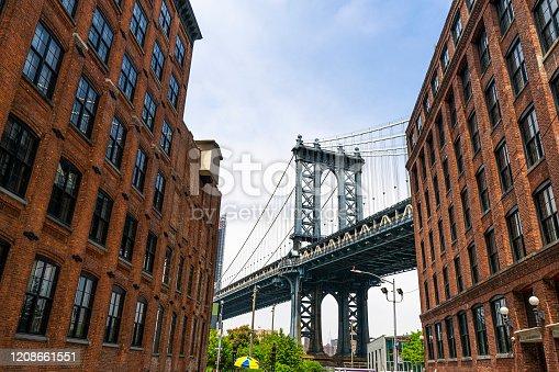 Manhattan bridge in between buildings