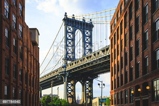 The Manhattan Bridge and apartment buildings shot in DUMBO, Brooklyn