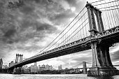 View of two bridges on the East River - black and white HDR image.