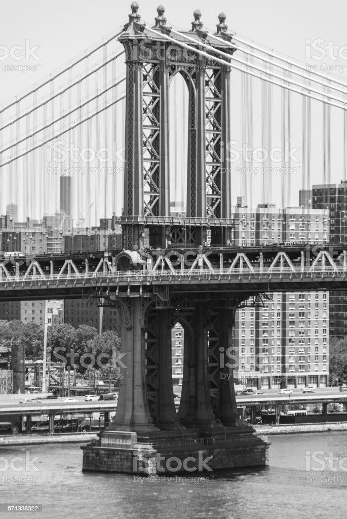 Manhattan bridge pylon close up stock photo