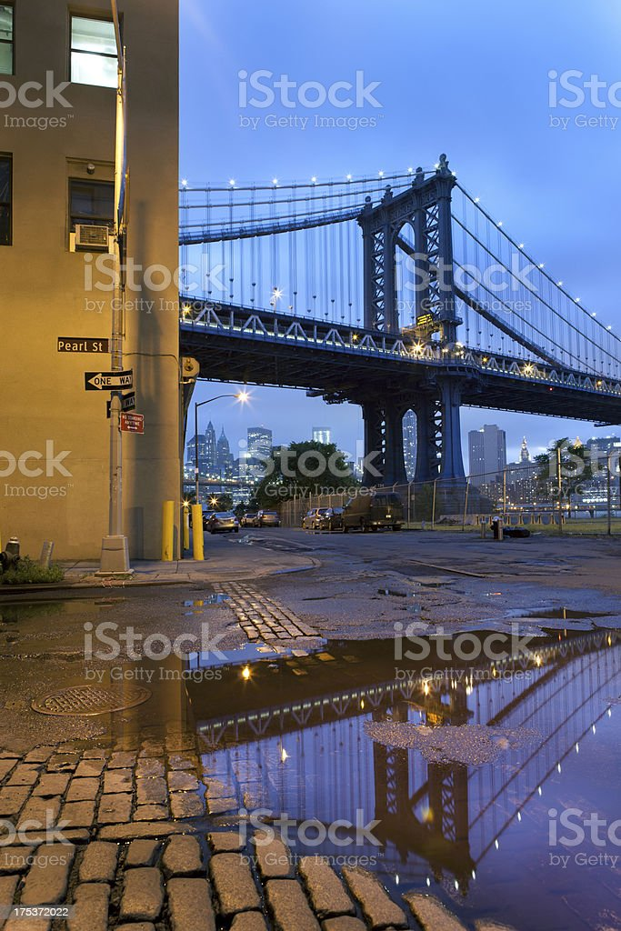 Manhattan Bridge Reflection in DUMBO Brooklyn royalty-free stock photo