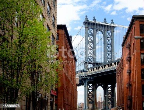 istock Manhattan Bridge seen from Brooklyn Backstreet 488558573