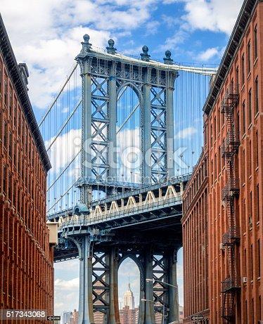 new york, washington street brooklynManhattan Bridge looking down a darkly shadowed Brooklyn backstreet in DUMBO, Empire State building, seen between the two pillars of the bridge