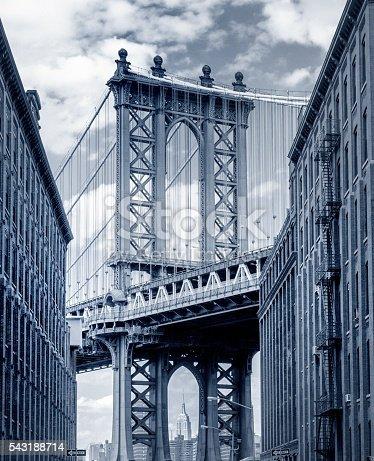 new york, washington street brooklyn Manhattan Bridge looking down a darkly shadowed Brooklyn backstreet in DUMBO, Empire State building, seen between the two pillars of the bridge, gps tagged