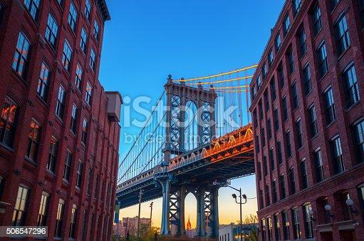 Manhattan Bridge in NYC, seen from Brooklyn