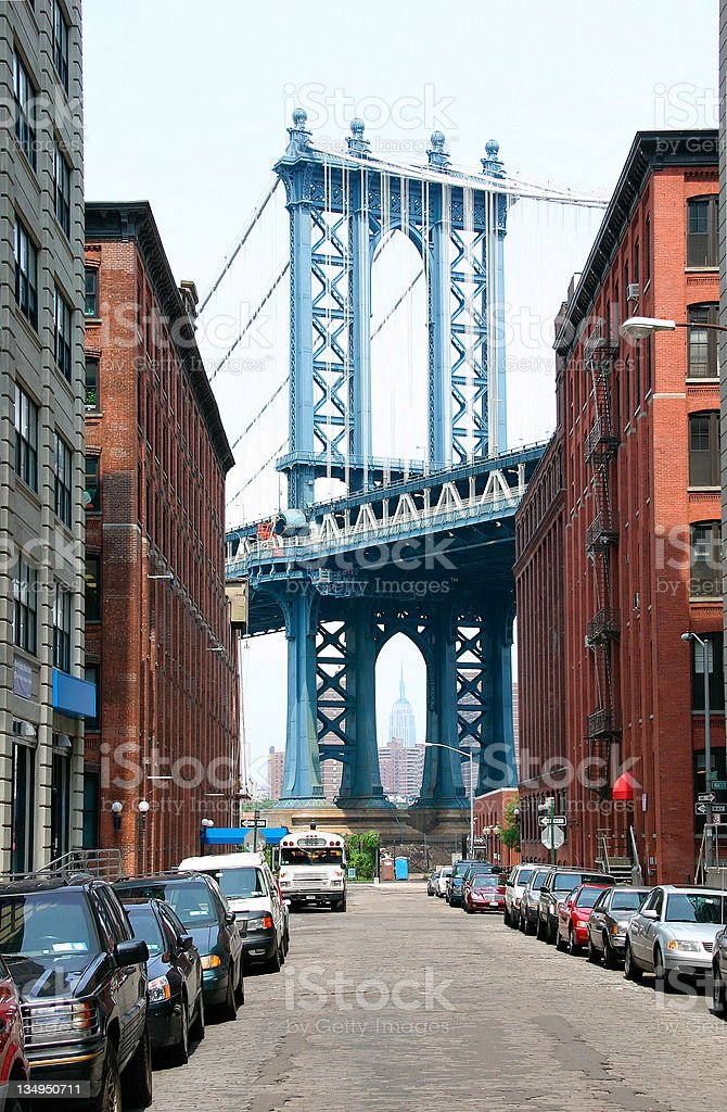 Manhattan Bridge Street view royalty-free stock photo